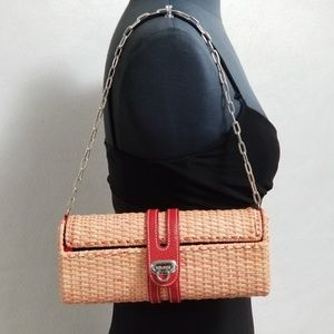 Drap Barcelona Woven Pink and Red Clutch Bag